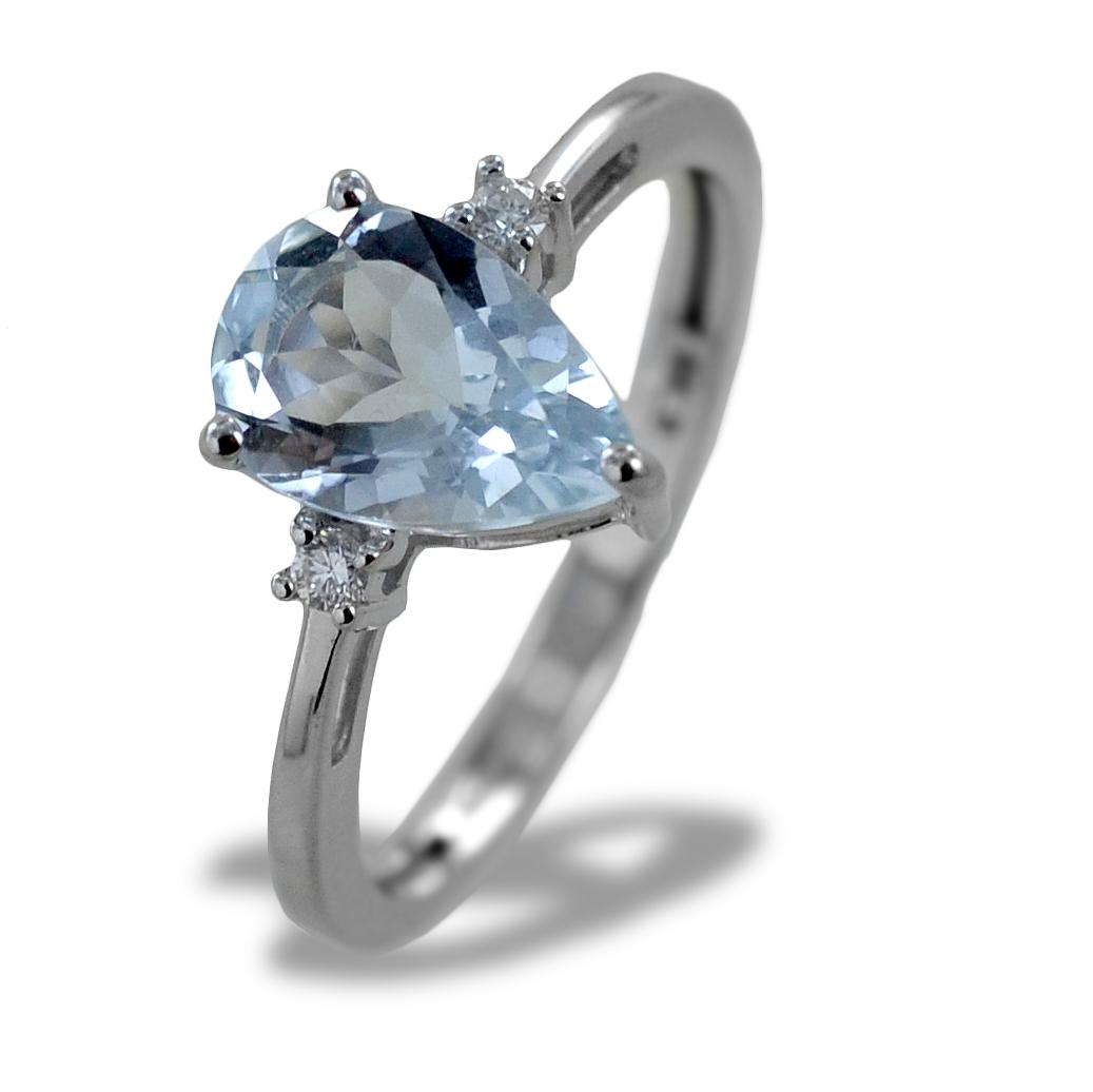 Anello Acquamarina Goccia e Diamanti modello Kinari medio