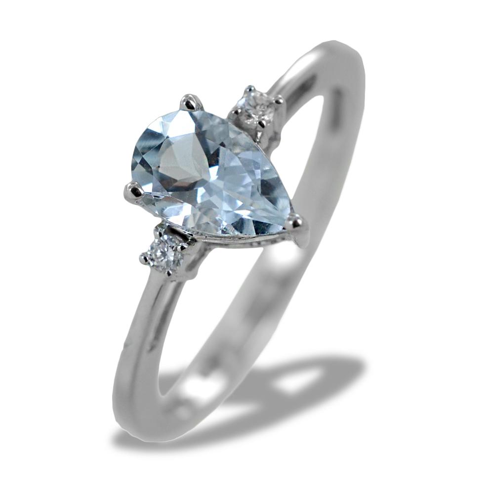 Anello Acquamarina Goccia e Diamanti modello Kinari piccolo