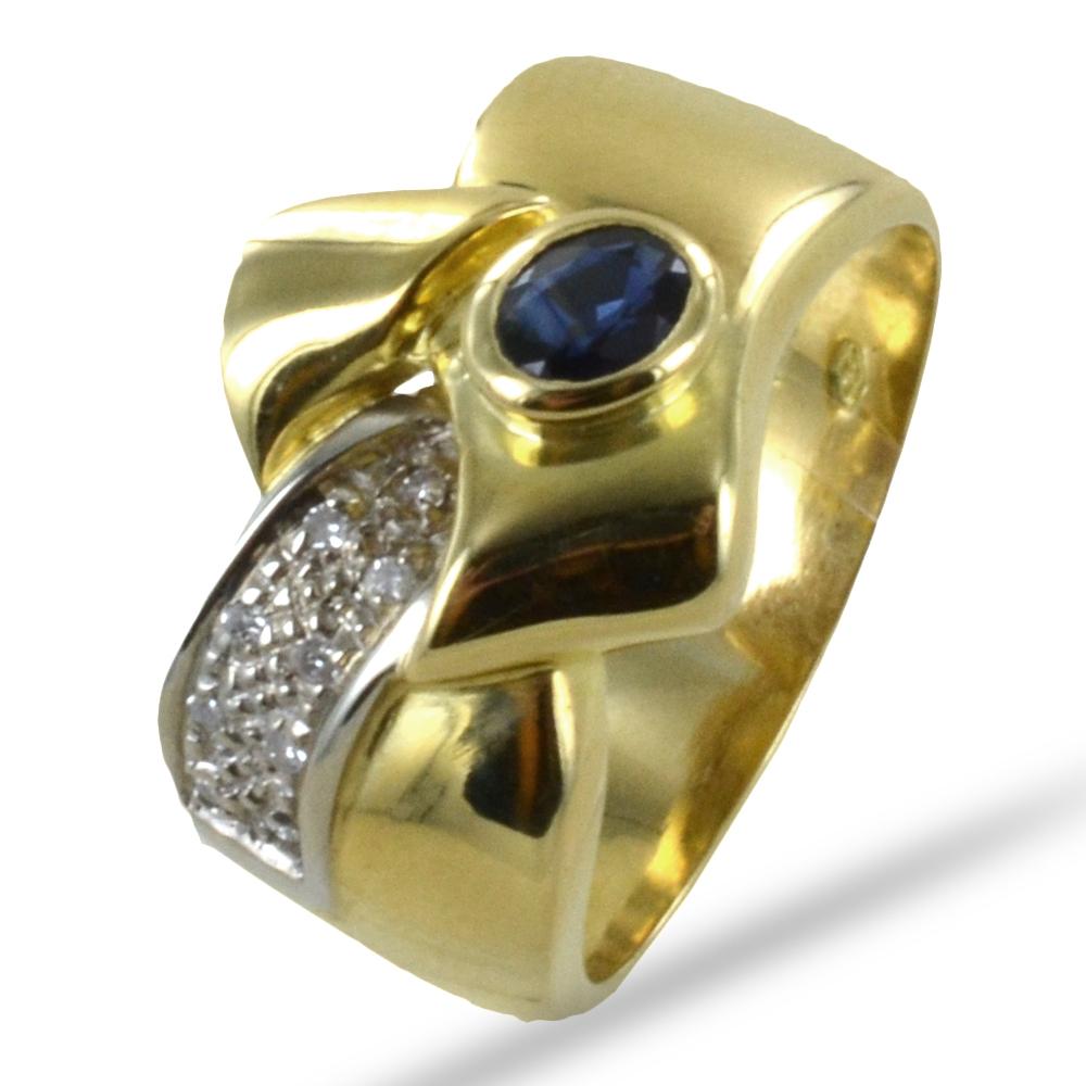 Anello classico a fascia in oro giallo con Zaffiro e Diamanti