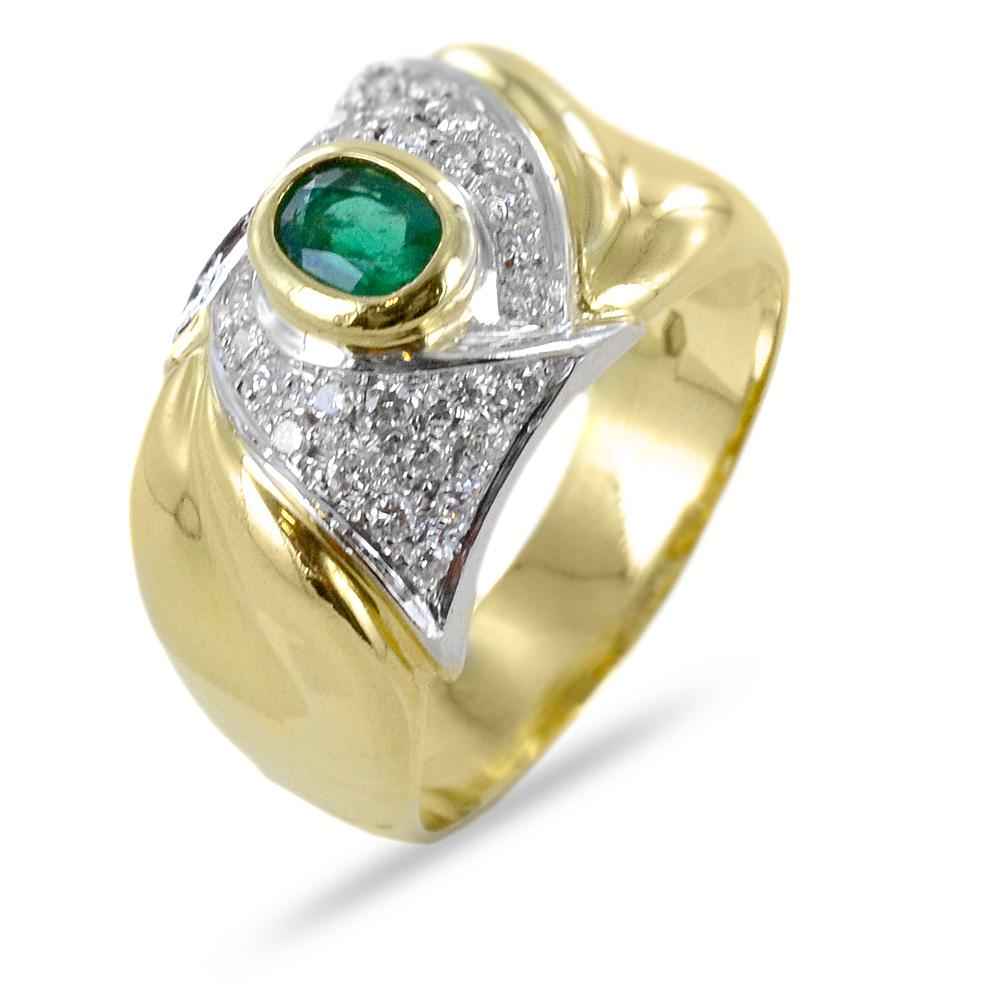 Anello classico con smeraldo e diamanti su nodo in oro giallo