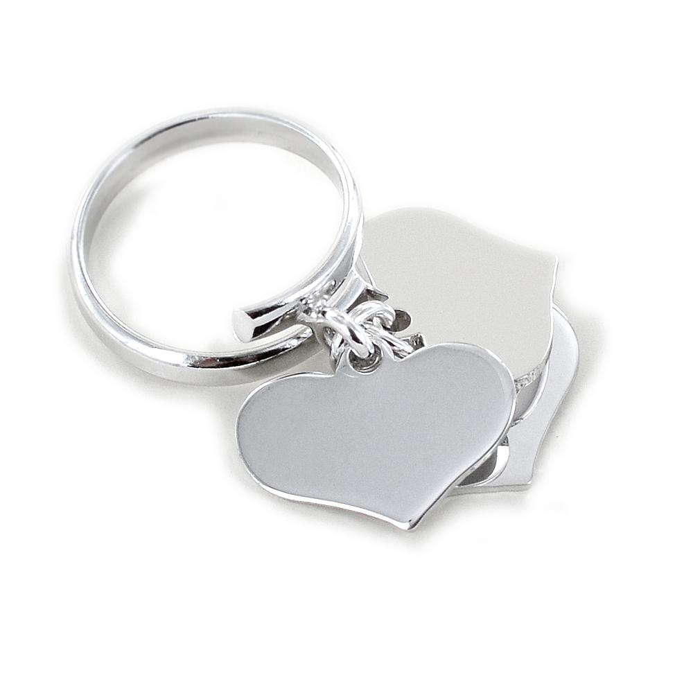 Anello con 3 ciondoli cuore pendente grande in argento