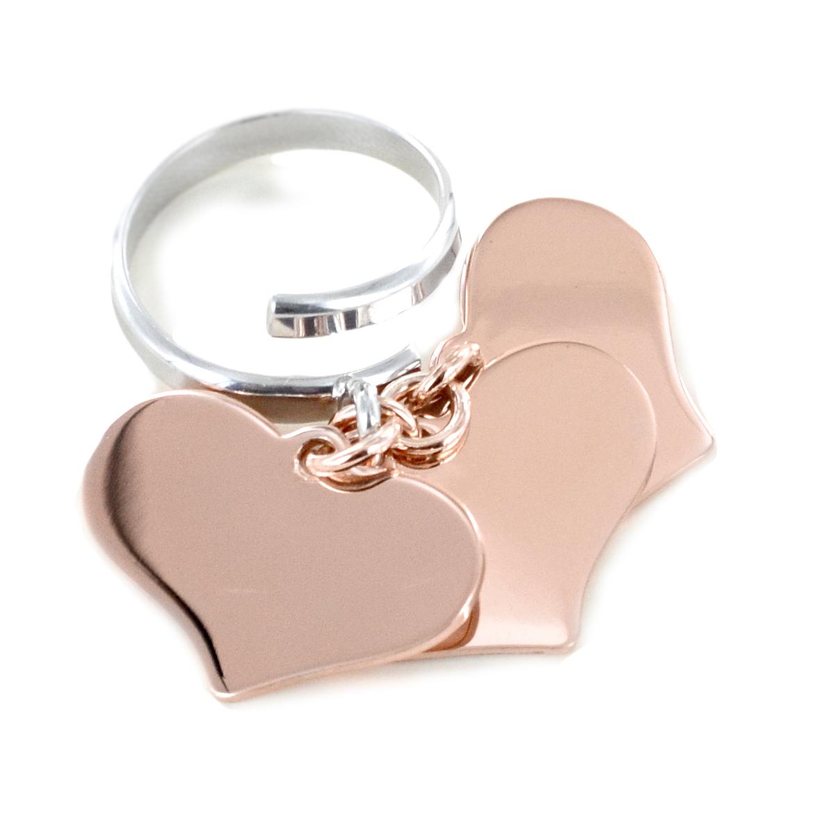 Anello con 3 ciondoli cuore pendente in argento rosa