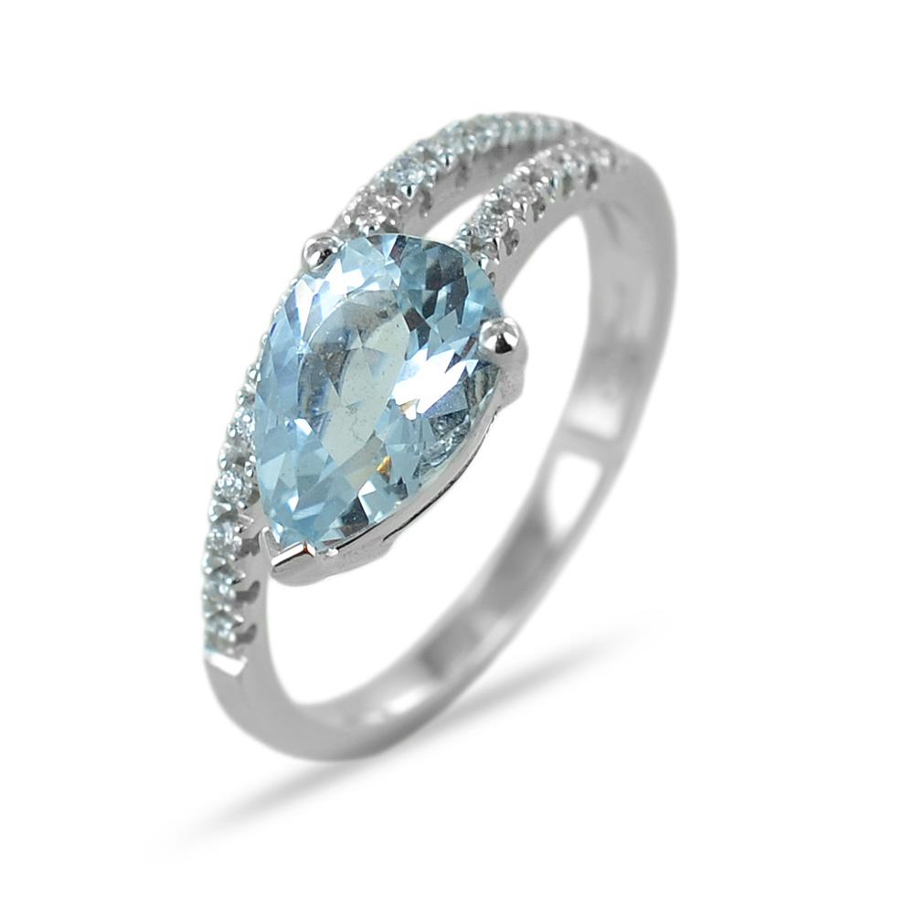 Anello con Acquamarina a goccia e gambo di Diamanti Gioielli Valenza