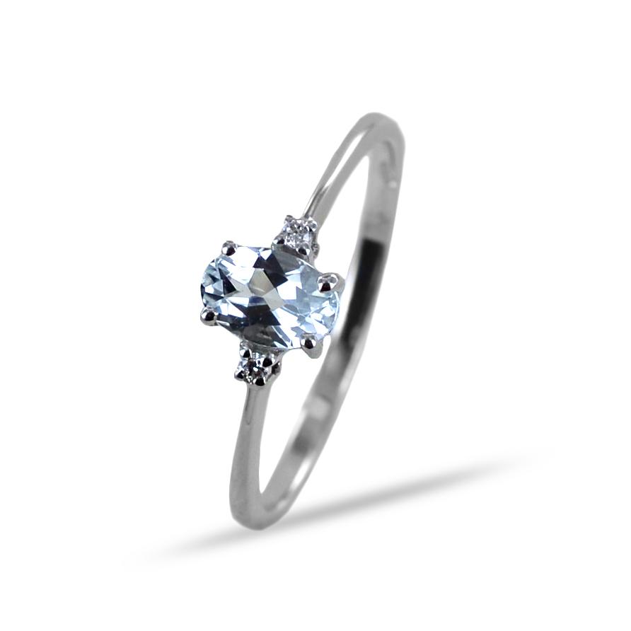 Anello con Acquamarina ovale e diamanti Orsini Gioielli