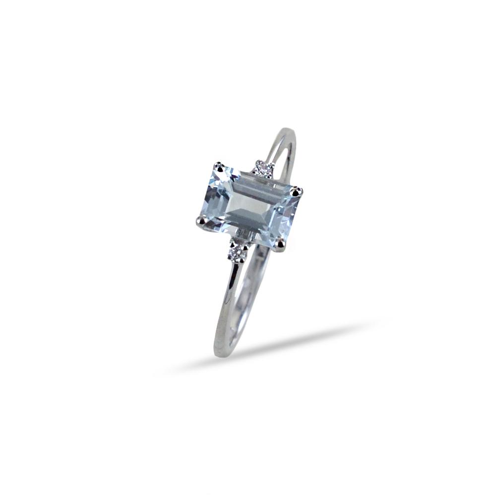 Anello con Acquamarina rettangolare e diamanti Orsini Gioielli