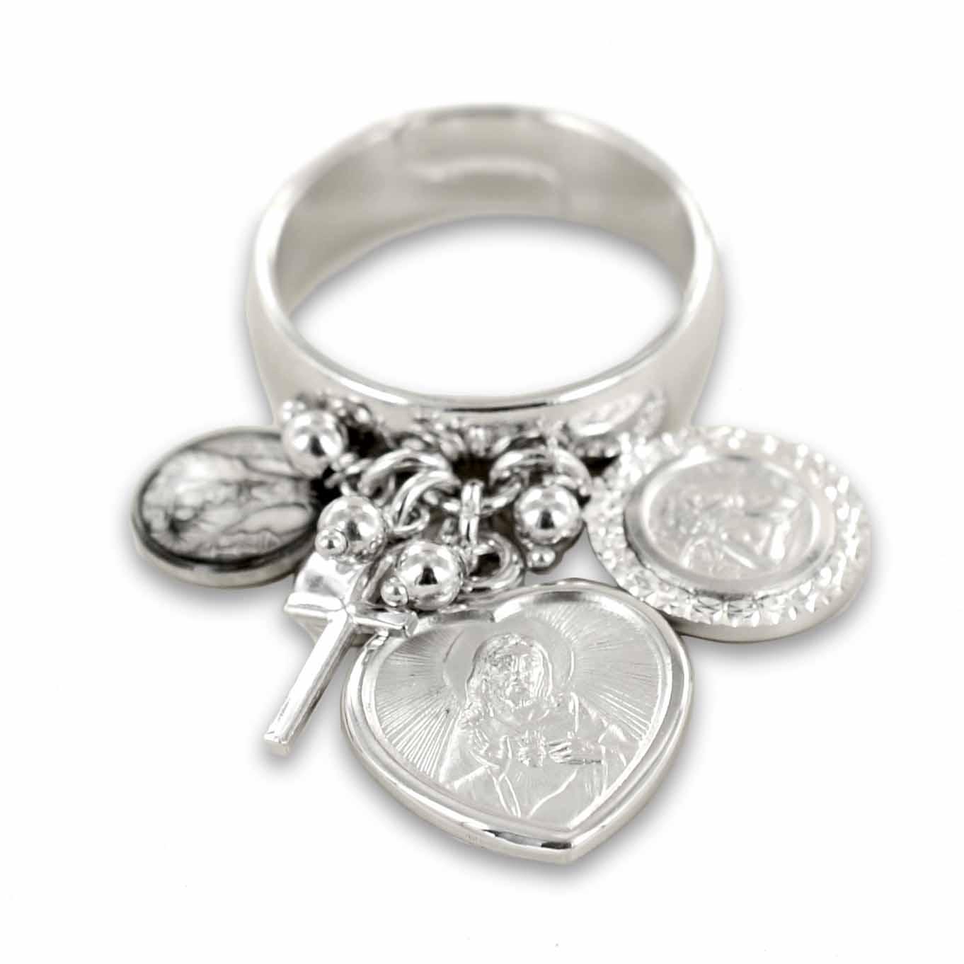 Anello con ciondoli religiosi Sacro Cuore Angelo Cherubino argento Agios