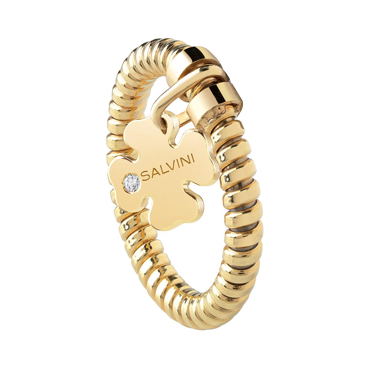 Anello con ciondolo quadrifoglio Salvini in oro giallo e diamante MINIMAL POP