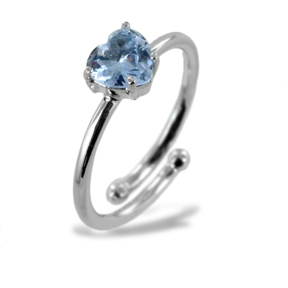 Anello con cuore in argento e zircone a cuore argento silver