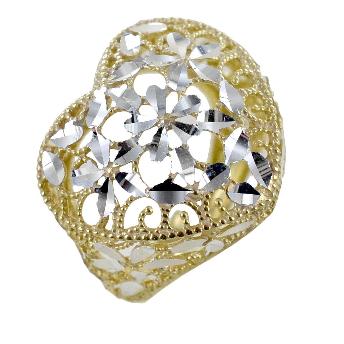 Anello con cuore scintillante in argento dorato e silver