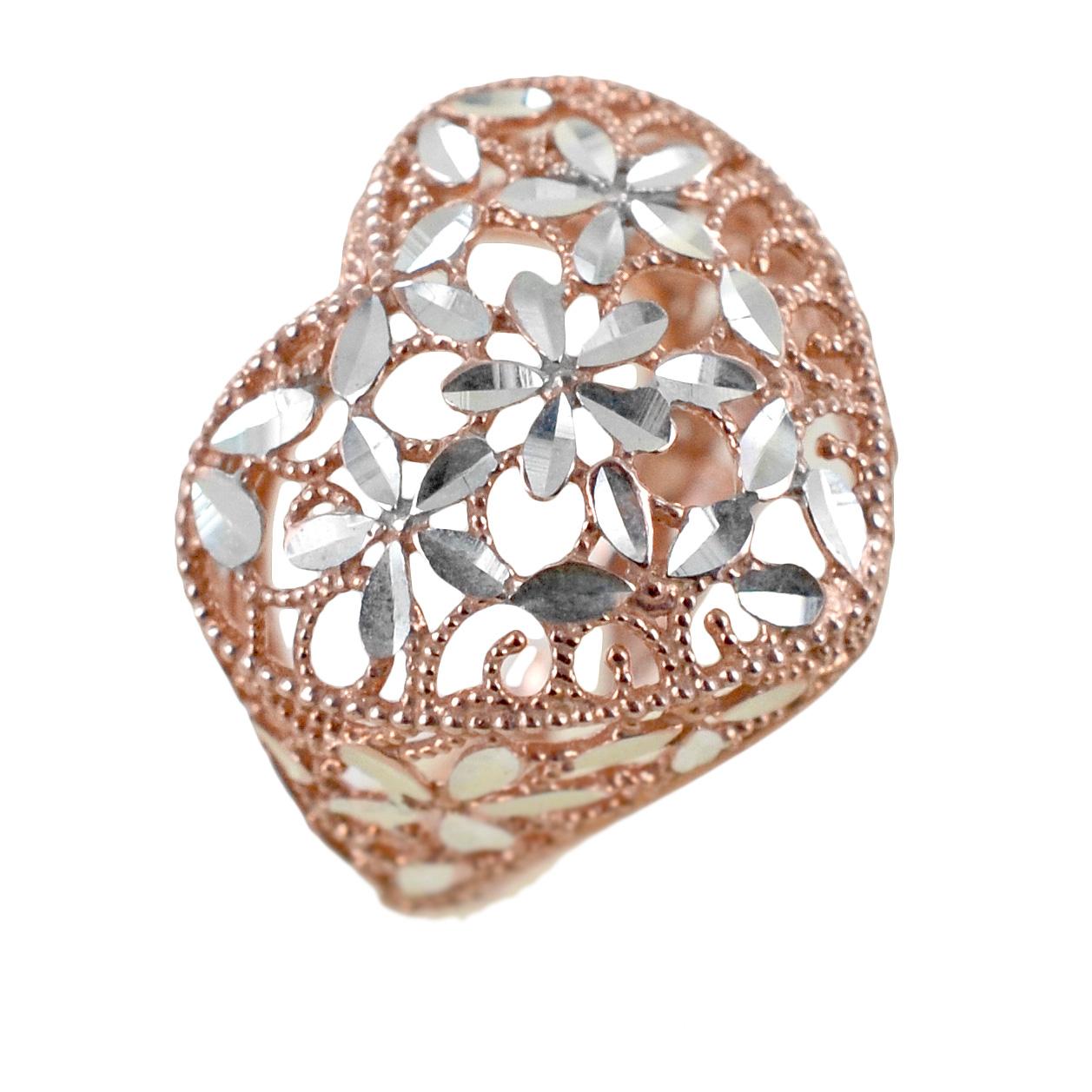 Anello con cuore scintillante in argento rosa e silver