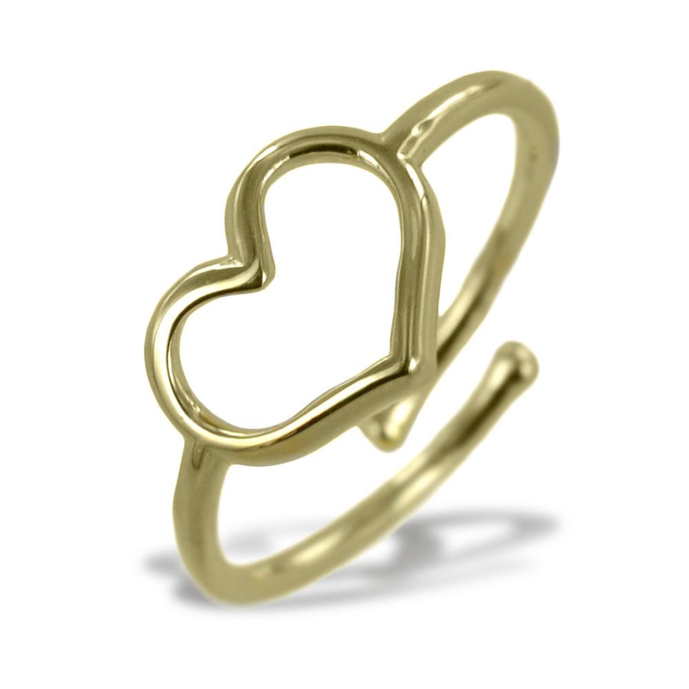 Anello con cuore traforato in argento color oro giallo