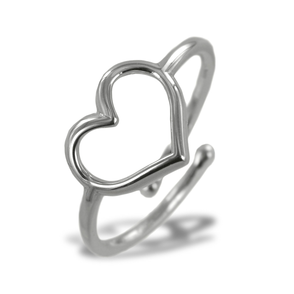 Anello con cuore traforato in argento silver