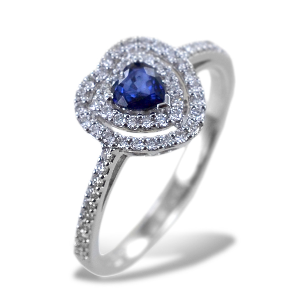 Anello con Cuore Zaffiro con doppio contorno di Diamanti