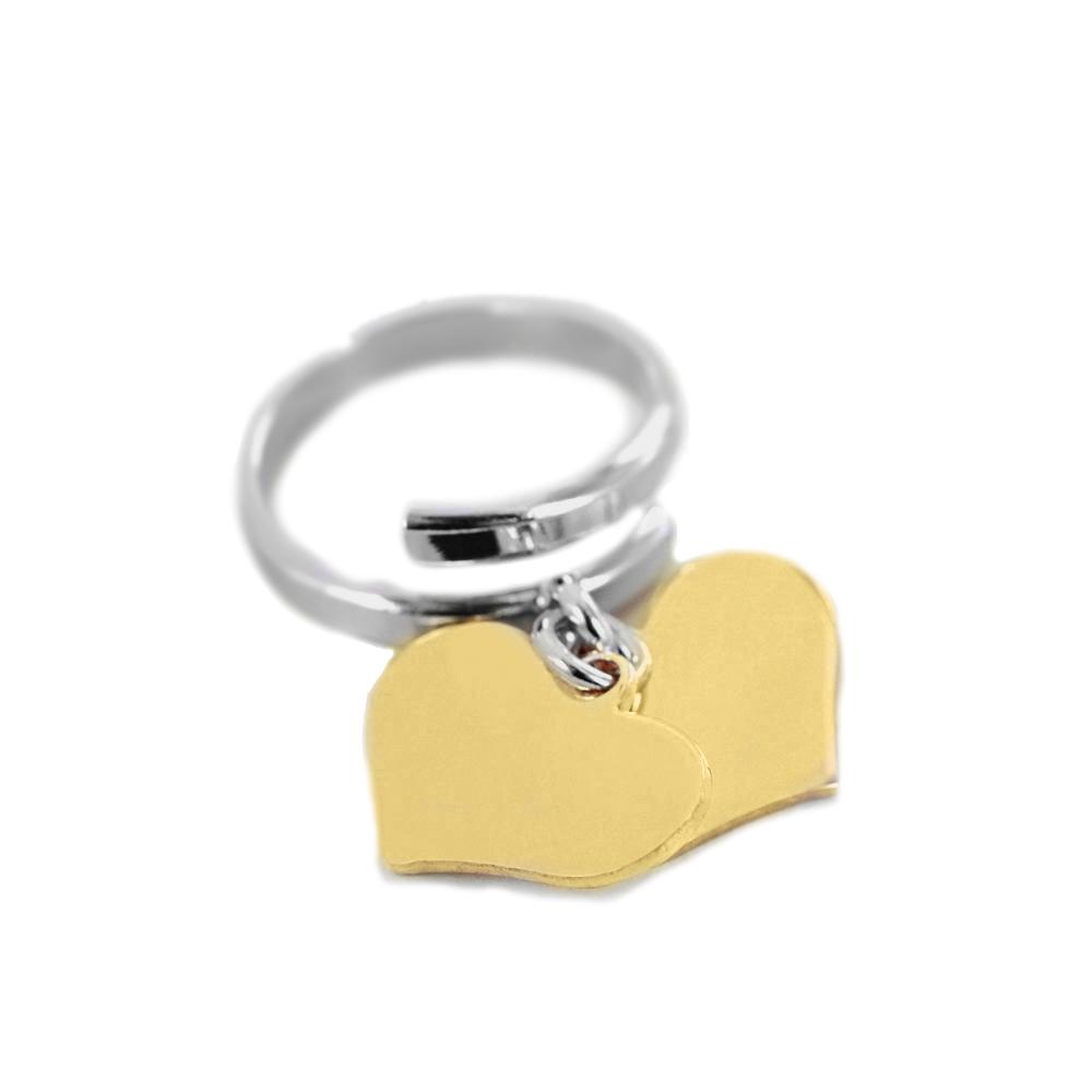 Anello con doppio ciondolo cuore pendente giallo in argento