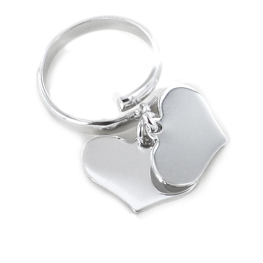 Anello con doppio ciondolo cuore pendente in argento