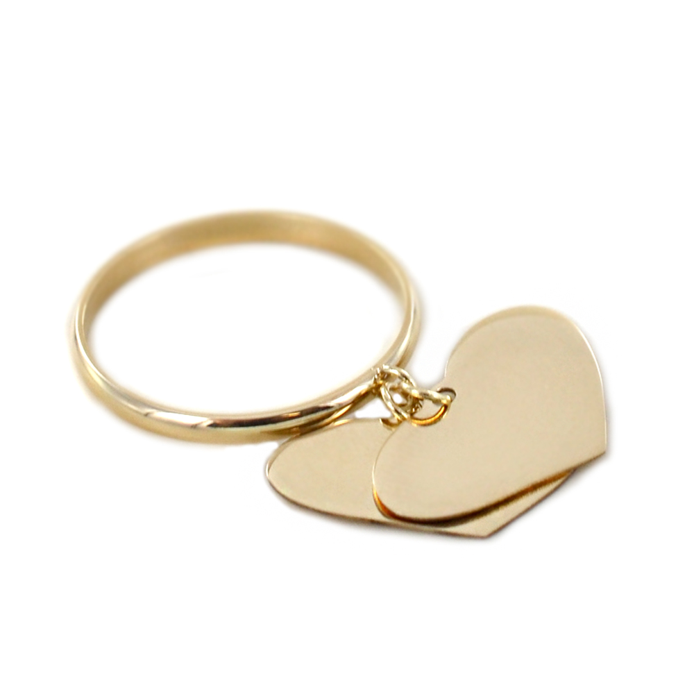 Anello con due ciondoli cuore in oro giallo