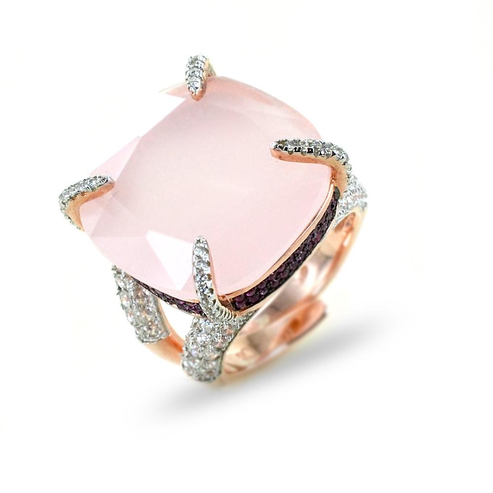 Anello con quarzo rosa a in argento e zirconi GIOIELLI SAMUI