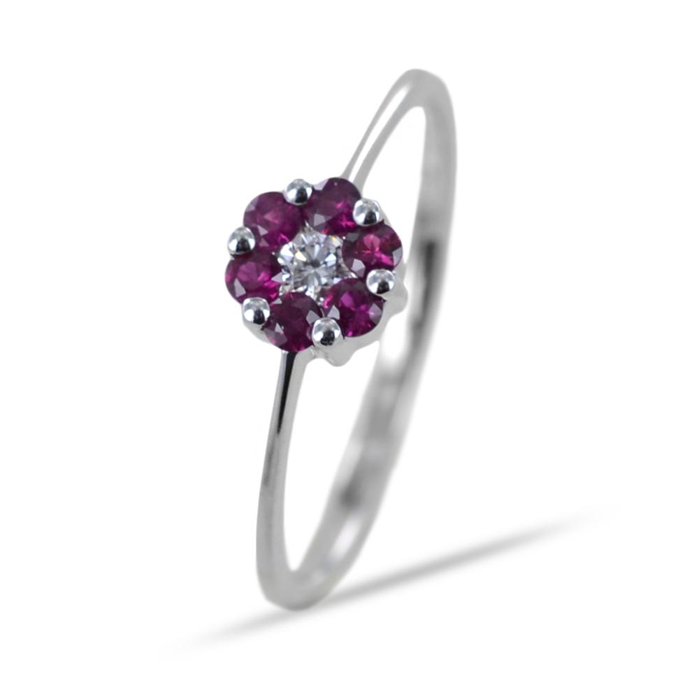 Anello con rosetta di Rubini e Diamante centrale Orsini Gioielli