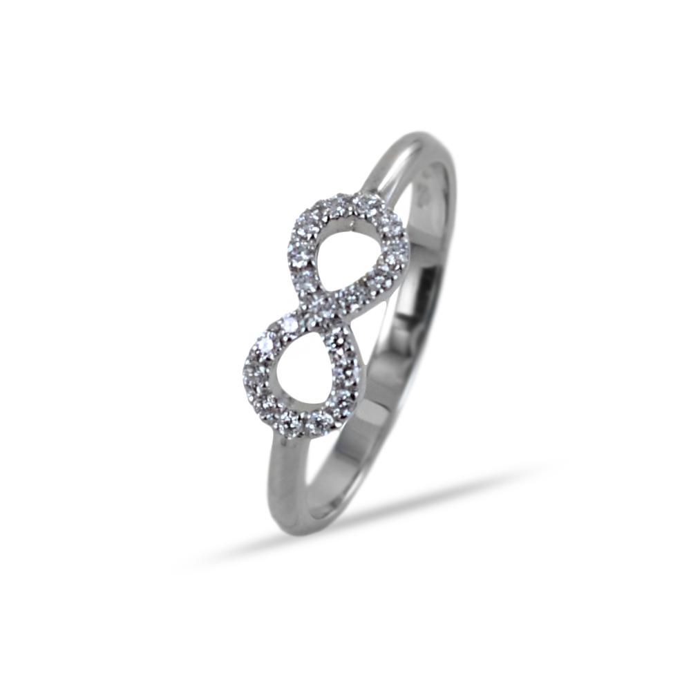 Anello con simbolo Infinito in oro e diamanti