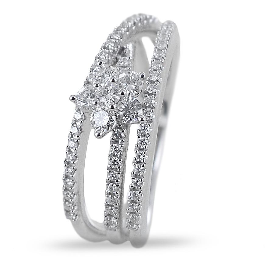 Anello con stella di diamanti su fasce di diamanti Gioielli Valenza