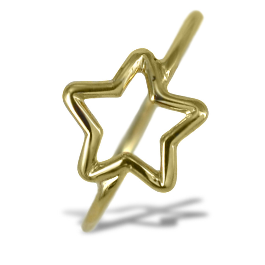Anello con stella traforata in oro giallo