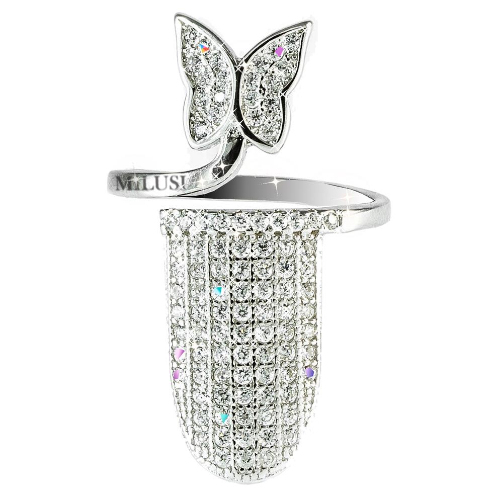 Anello copri unghia in argento e zirconi con farfalla