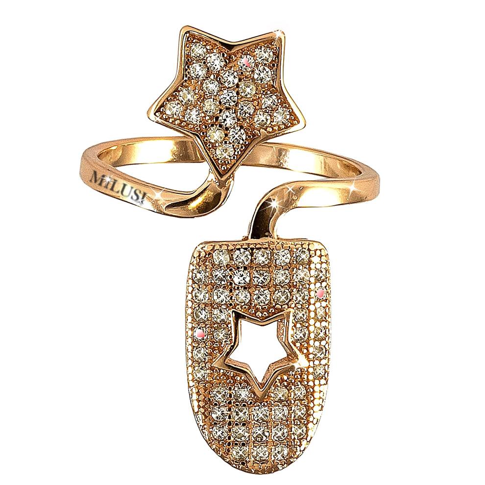 Anello copri unghia in argento e zirconi con stella