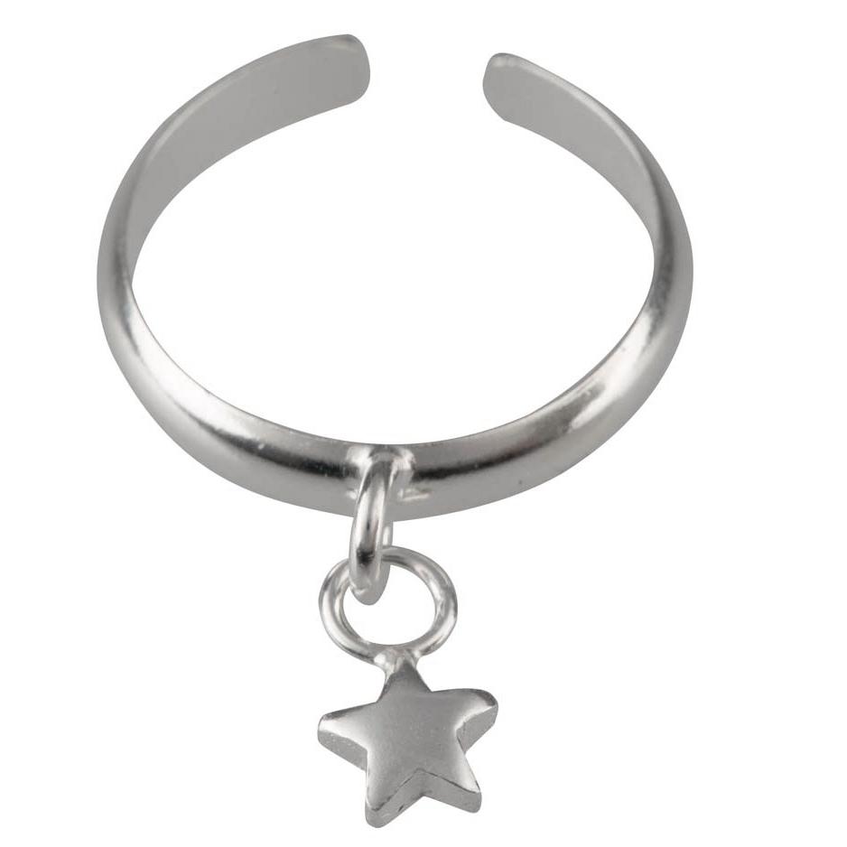 Anello da piede in argento con charm a Stella