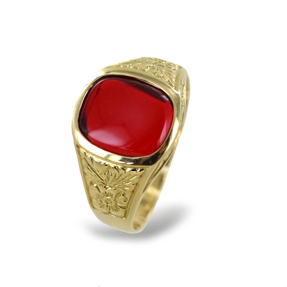 Anello da uomo Cabochon con zircone rosso