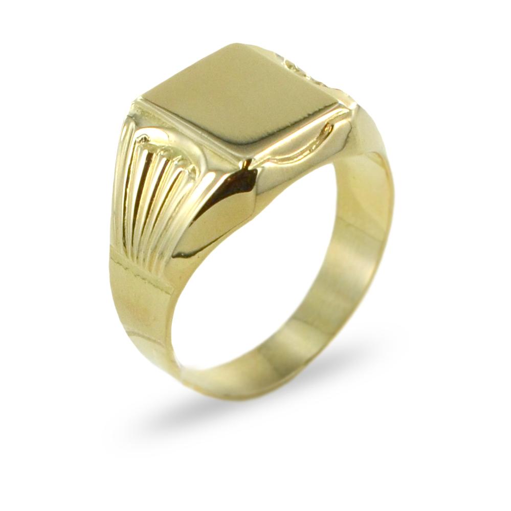 Anello da uomo da mignolo con scudo in oro giallo