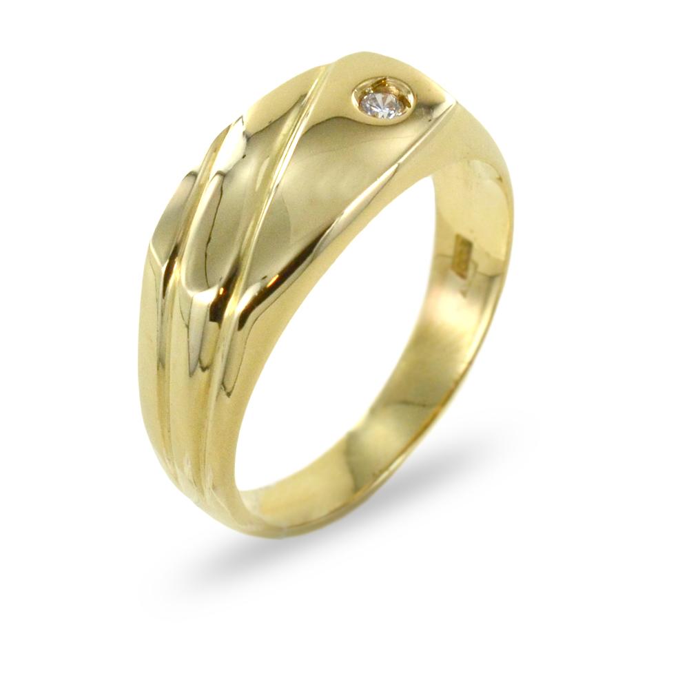 Anello da uomo in oro giallo con zircone