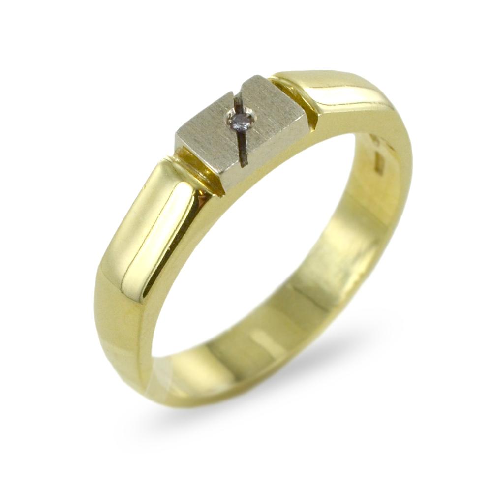 Anello da uomo in oro giallo e bianco con diamante