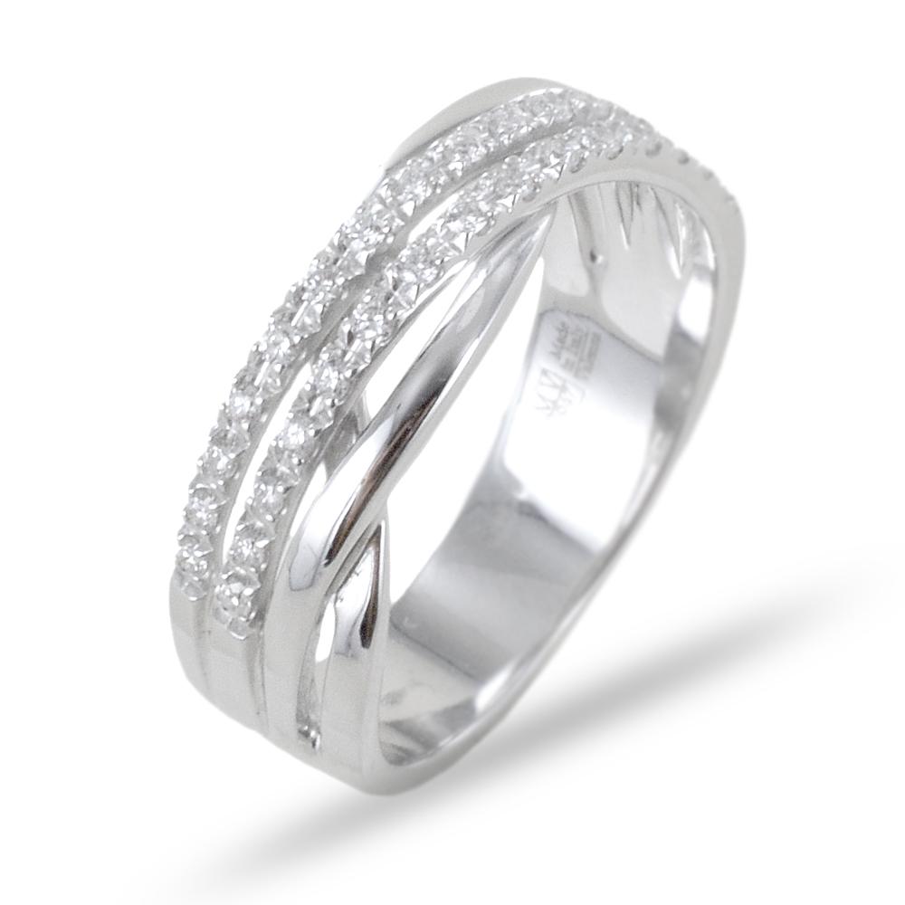 Anello doppia fascia di diamanti intreccio ct 0.19 G VS