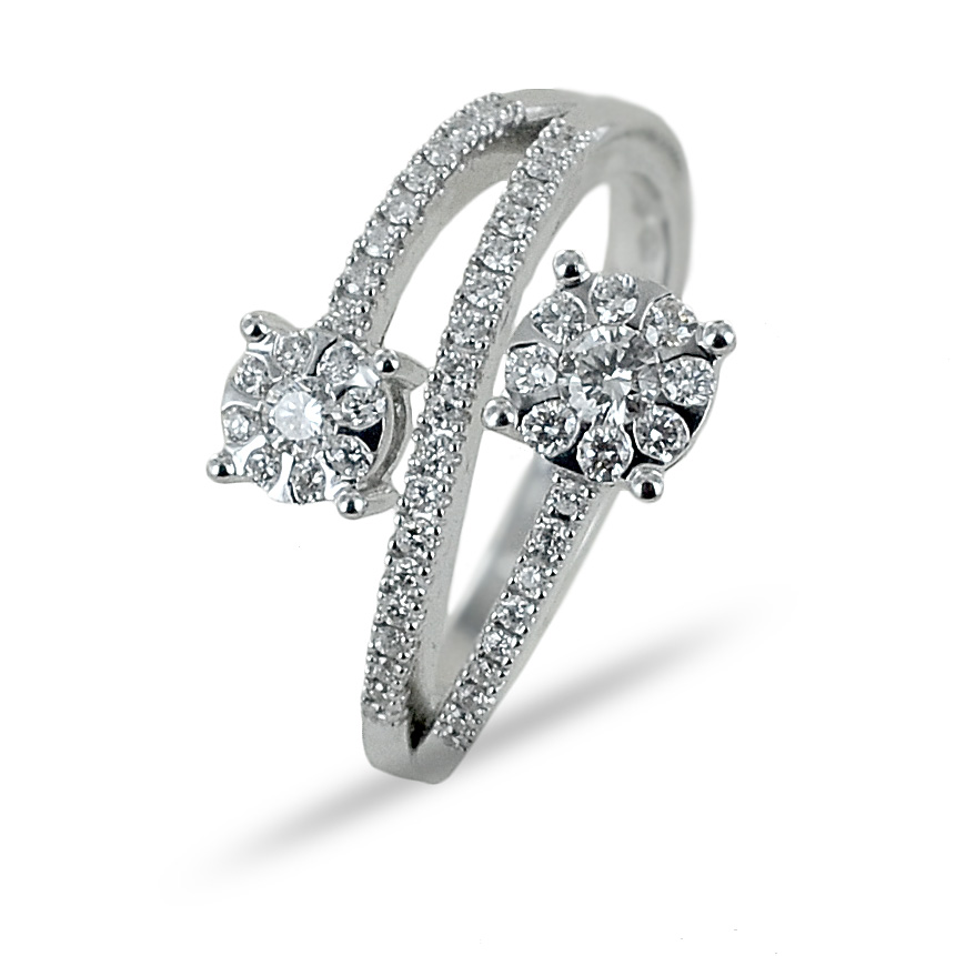 Anello effetto doppio solitario su fasce di diamanti Gioielli Valenza 0.49 carati