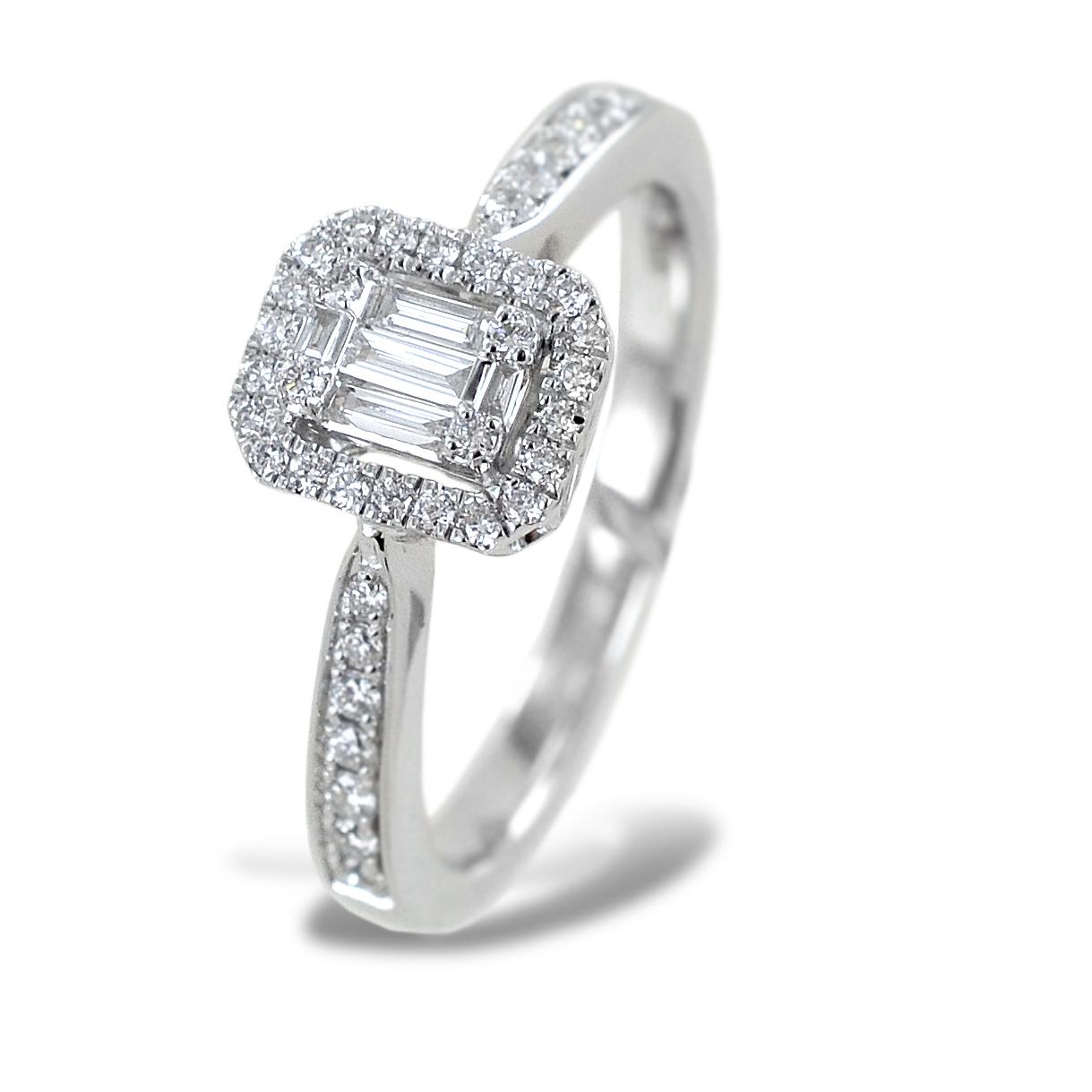 Anello effetto solitario con contorno di diamanti Salvini gioielli collezione Magia