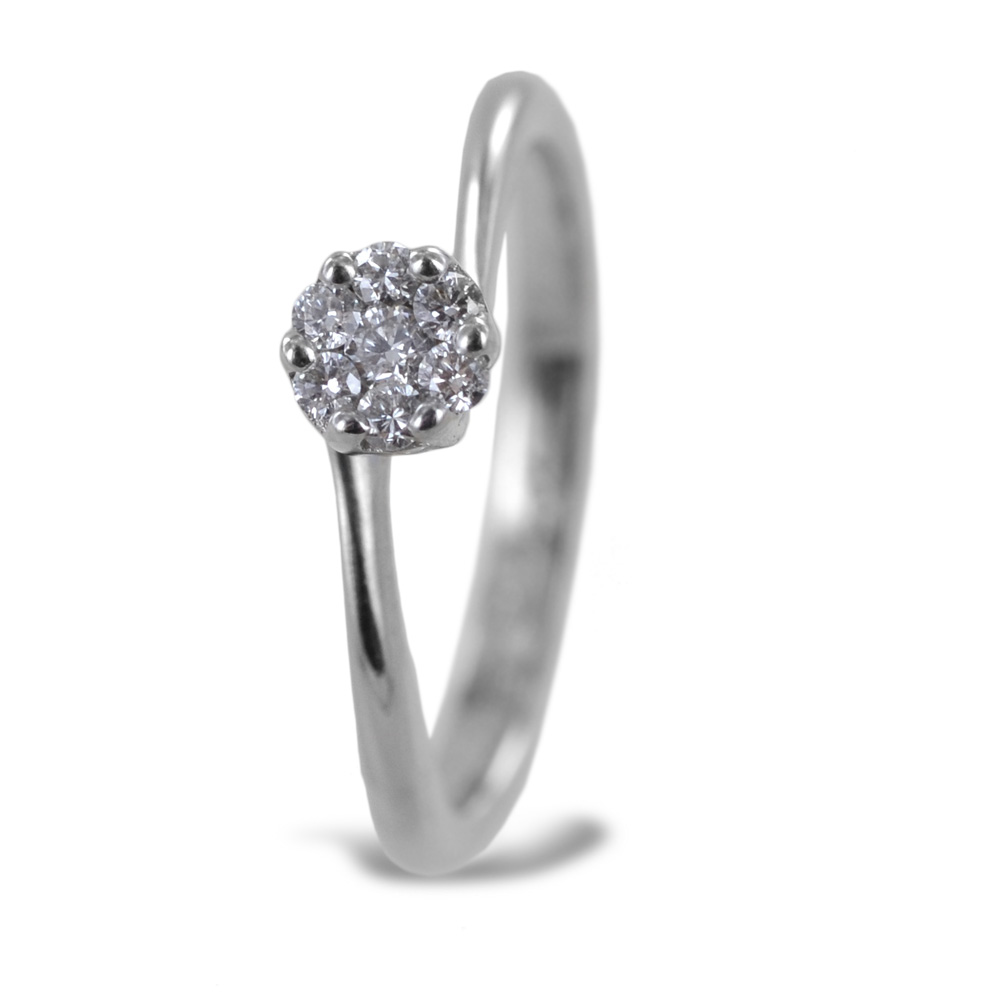 Anello effetto solitario con diamanti Magic carati 0.18 G