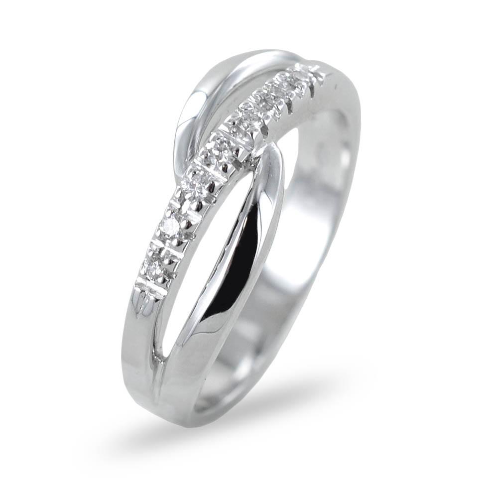 Anello fantasia a fascia di diamanti con intreccio