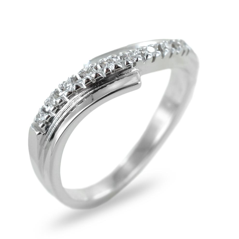 Anello fantasia con fascia diamanti su doppia fascia in oro ct 0.10
