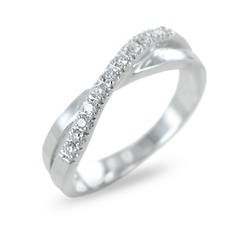 Anello fantasia con fascia diamanti su fascia in oro ct 0.08