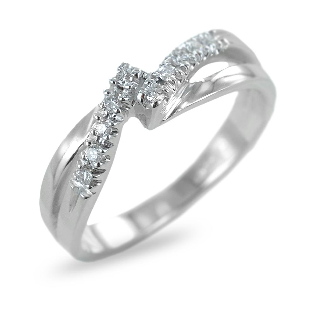 Anello fantasia con intreccio di diamanti su doppia fascia ct 0.10