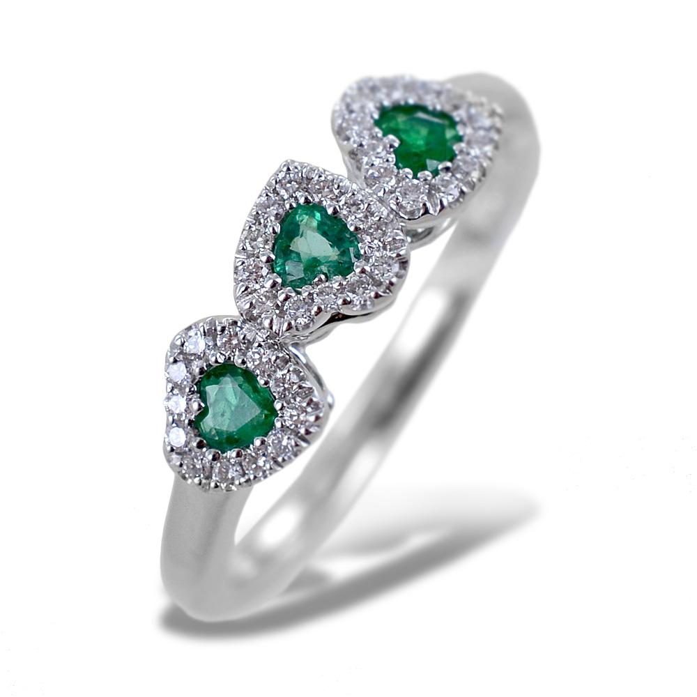 Anello fantasia Cuori con Smeraldi e Diamanti Gioielli Valenza