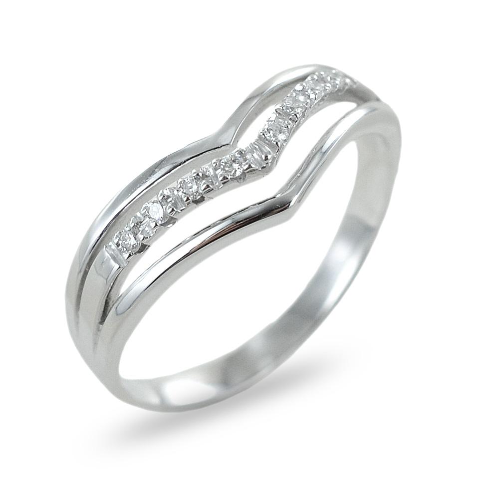 Anello fascia india in oro bianco con diamanti ct 0.06