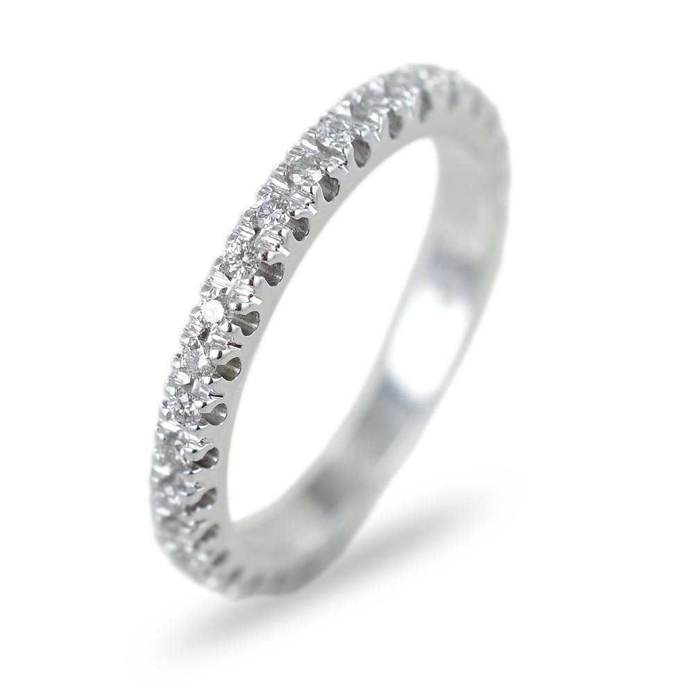 Anello Fede Eternity in oro bianco e diamanti ct 0.35 G VS