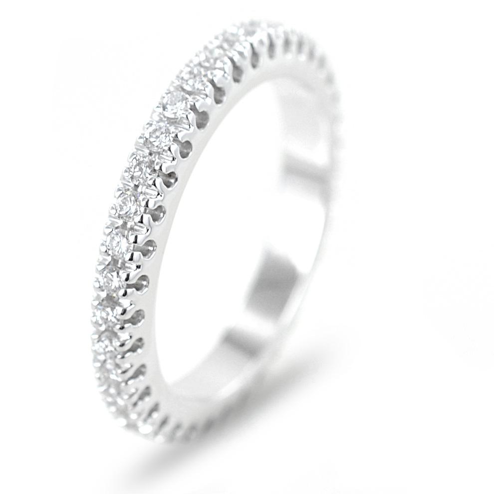 Anello Fede Eternity in oro bianco e diamanti ct 0.76 G VS