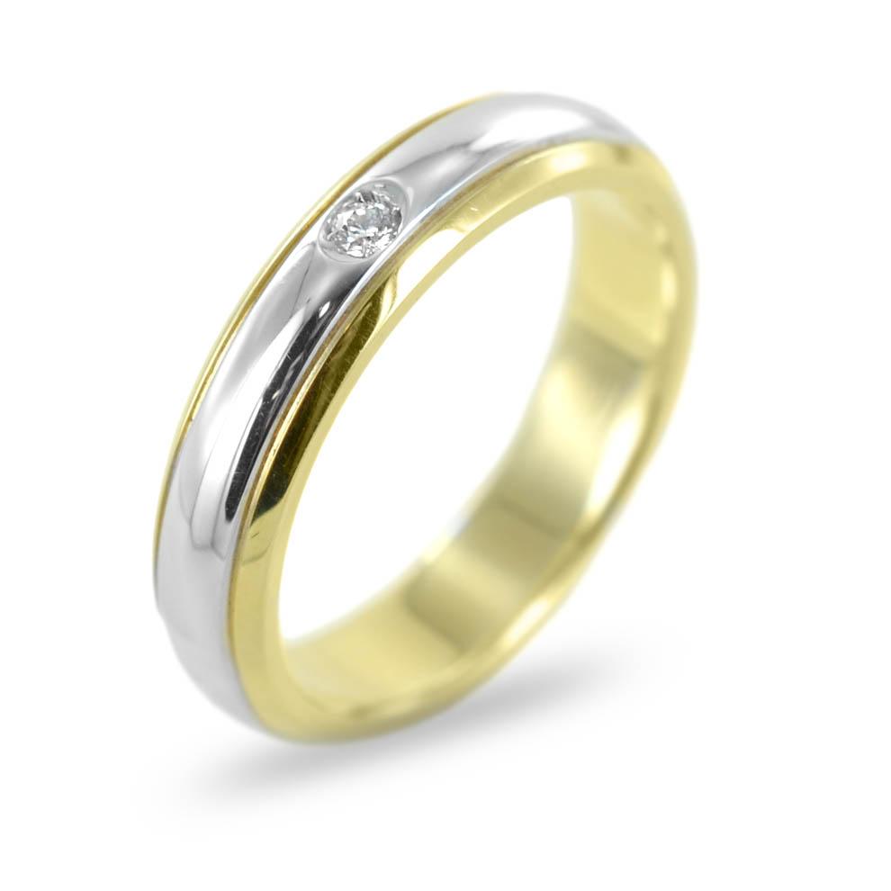 Anello fedina con diamante in oro bicolore