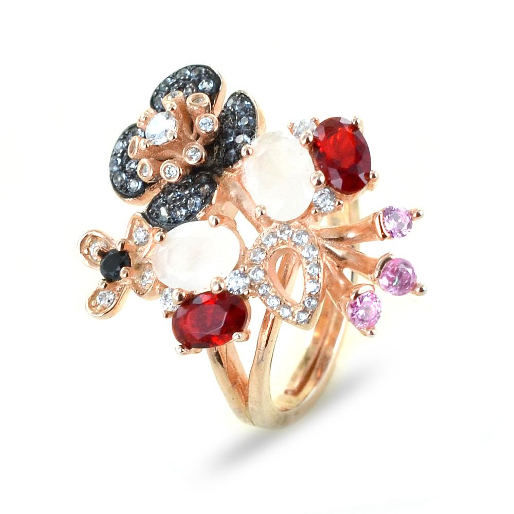 Anello floreale in argento e zirconi GIOIELLI SAMUI