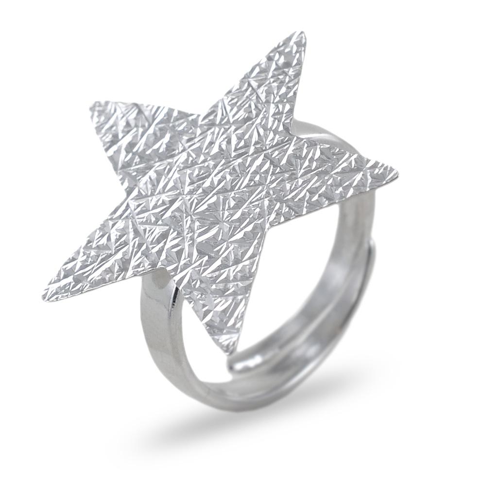 Anello in argento con stella argentata collezione Shiny