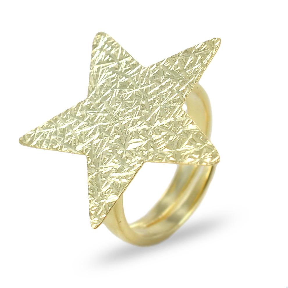 Anello in argento con stella dorata collezione Shiny