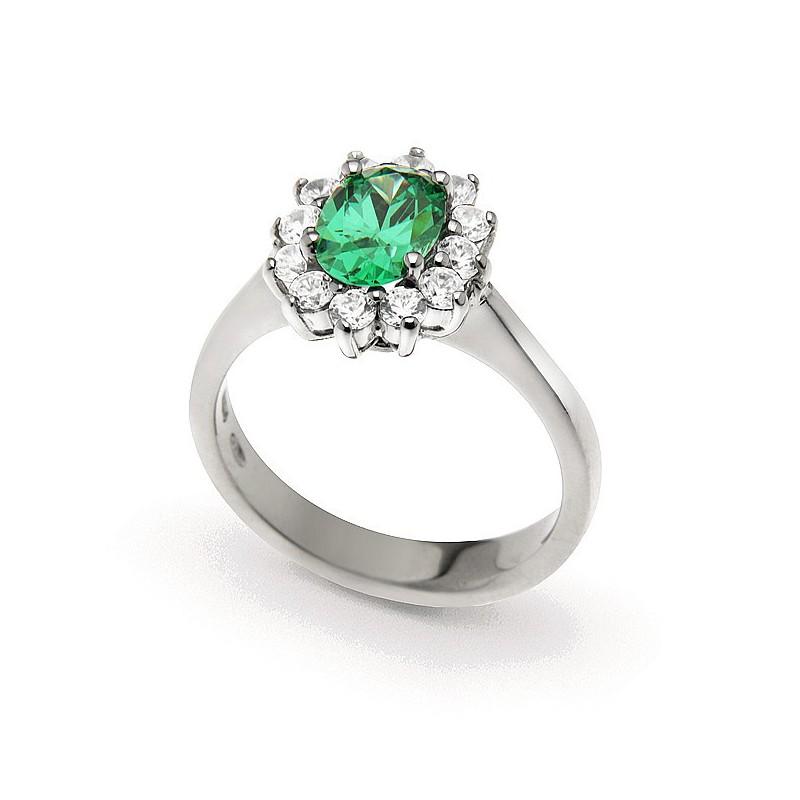 Anello in argento e zirconi modello rosetta zircone centrale Verde