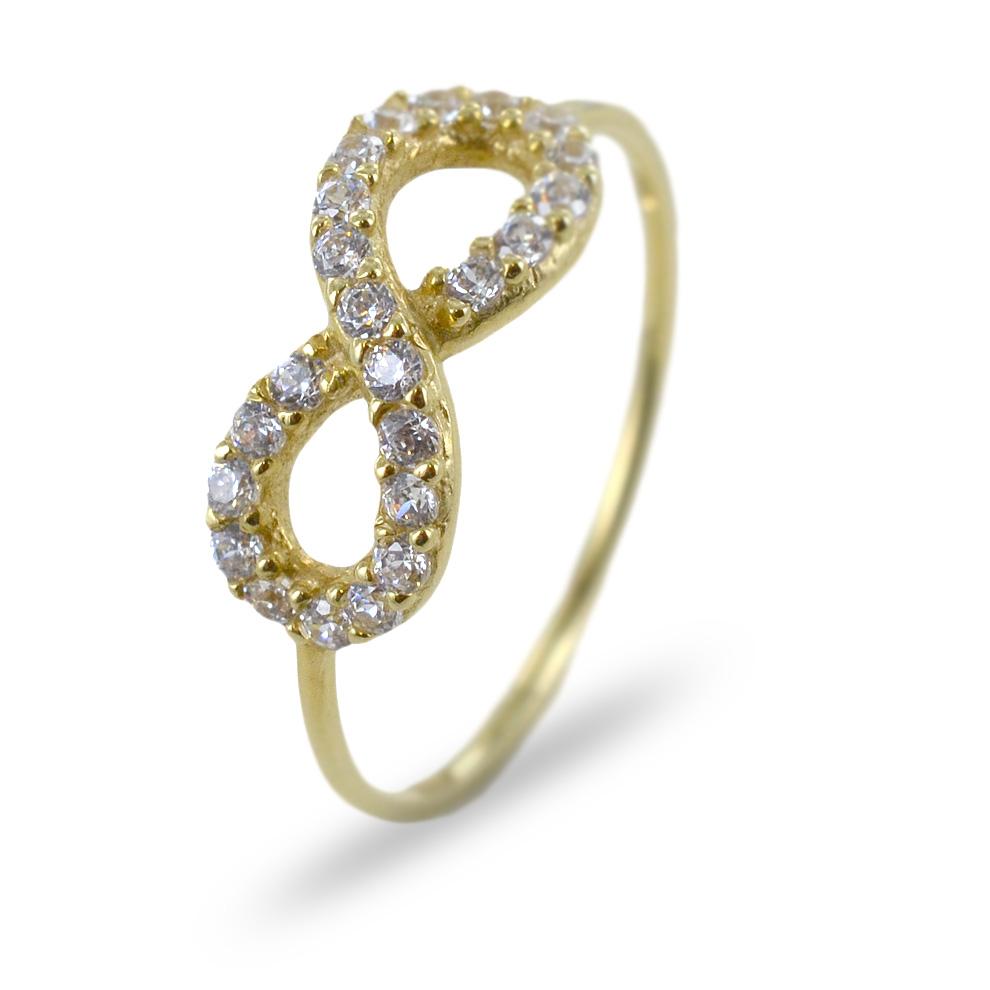 Anello in oro con infinito traforato e zirconi bianchi